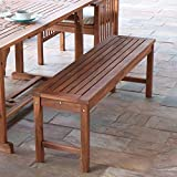 Wood Patio Table Walker Edison Furniture Company Solid Acacia Wood Patio Bench - Brown