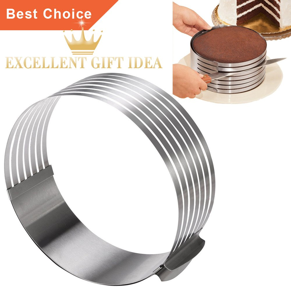 KALREDE Layer Cake Slicer Adjustable 7 Layer - Stainless Steel 9 Inch To 12 Inch Cake Ring Mold Cutter Round Adjustable Mousse Molds for Baking
