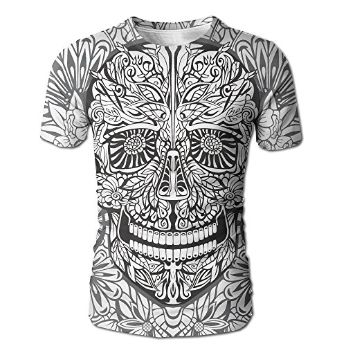 Kooiico Mens Skull Gothic Smiling Skeleton Head With Flowers Day of The Dead Mexican Fashion Tees White L (Best Climbing Flowers For Arbors)