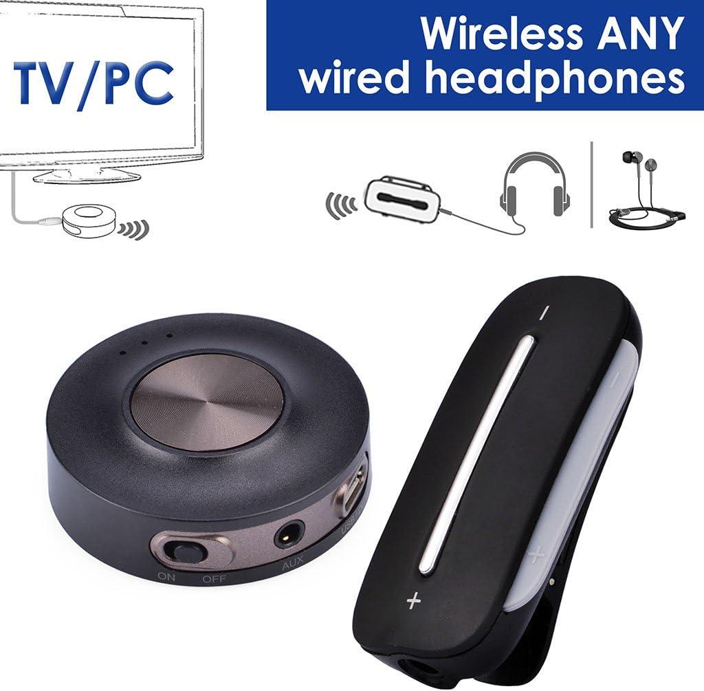 Avantree HT3187 Set Transmisor y Receptor Bluetooth 4.2 para TV, PC (Soporta AUX, RCA, PC USB, NO OPTICA), aptX Baja LATENCIA, Pre-Emparejado, Bluetooth para Auriculares/Altavoces con Cable