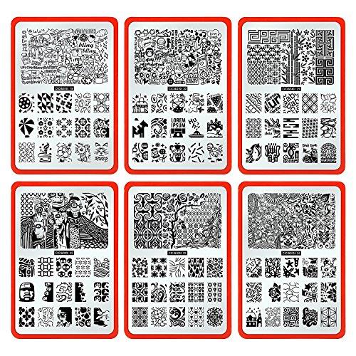 CICI&SISI Nail Stamping Plate Set Jumbo 4-Set of 6 JUMBO Nail Art Polish Stamping Manicure & Pedicure Kits All New Designs with FREE STAMPER & SCRAPER TOOLS SET