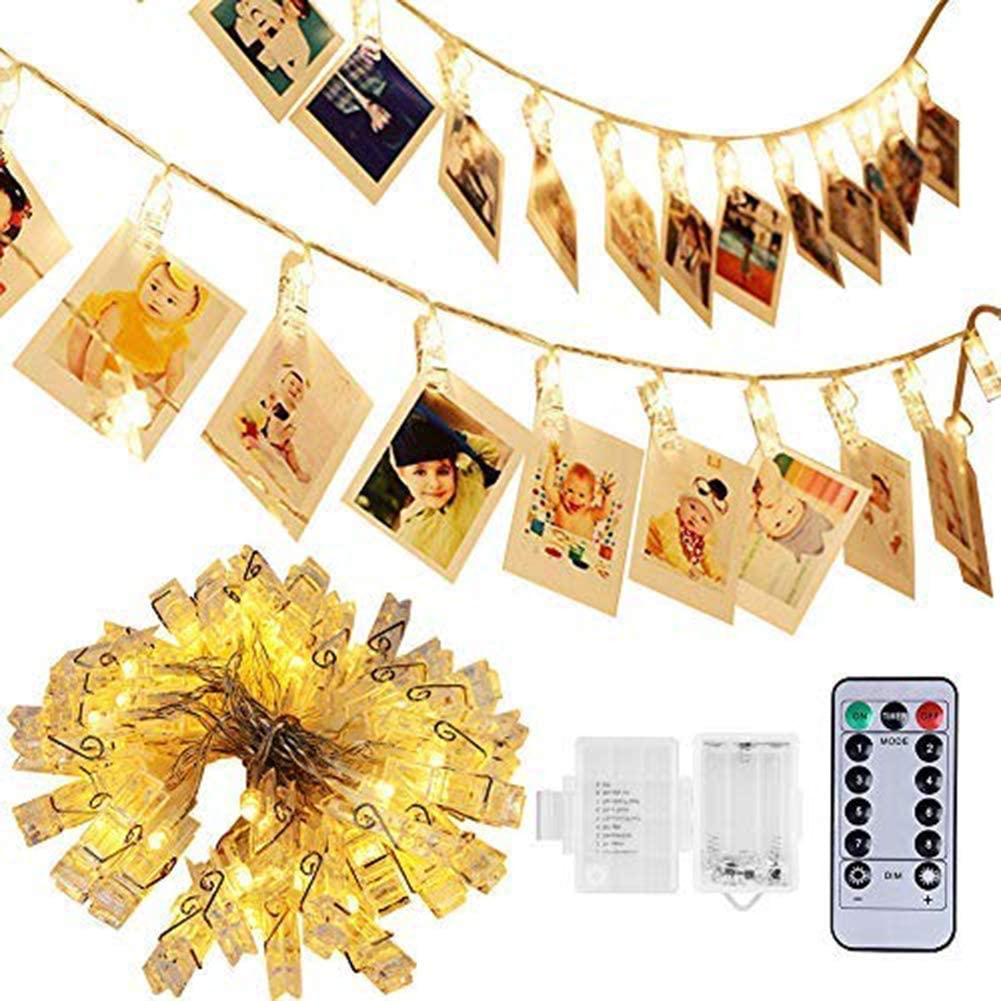 Adecorty 50 LED Photo Clip Lights 8 Modes Battery Powered Photo Clips String Lights with Remote & Timer, Cards Pictures Holder for Christmas Wedding Dorm Bedroom Decor (17.4ft, Warm White)