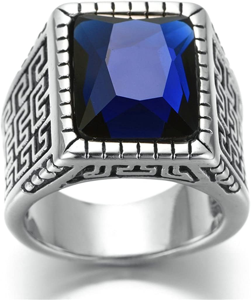 Bishilin Stainless Steel Vintage Silver Black Men Wedding Rings With Blue Cubic Zirconia Size 12