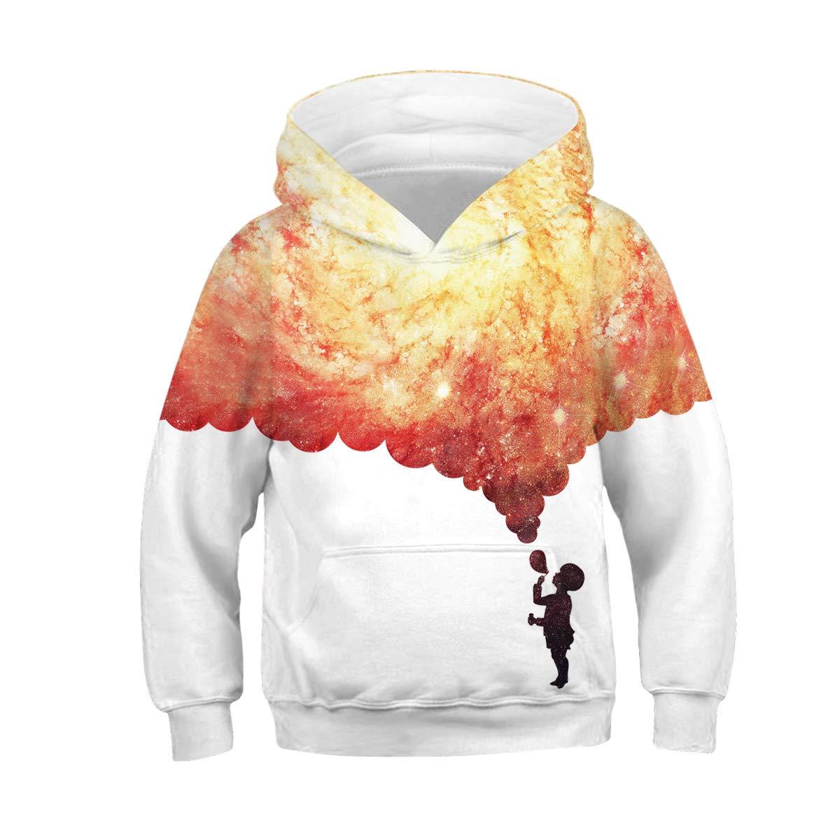 URVIP 3-13 Years Unisex Kids Hoodies Sweatshirt 3D Print Pullover Clothes
