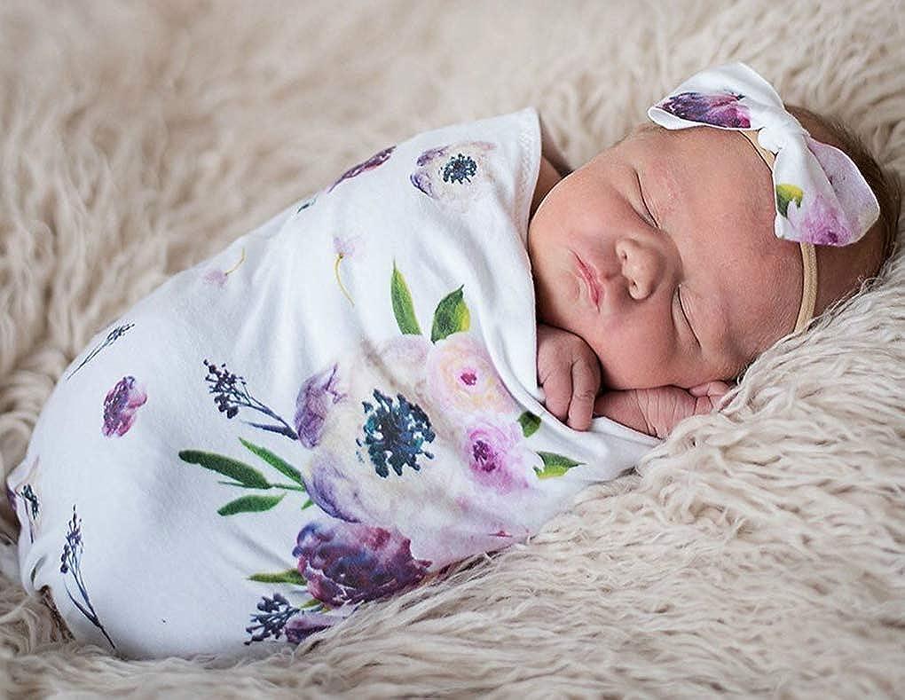 DPSKY Newborn Unisex Baby Receiving Blanket with Bow Headband Set Baby Shower Swaddle Sack