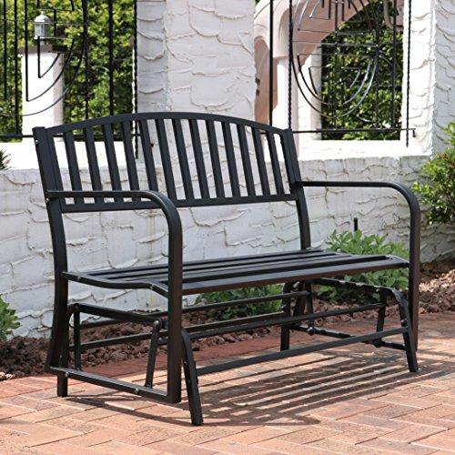 Sunnydaze Outdoor Garden Bench 50 Inch, Metal Glider Patio Seat, Black (Front Porch Gliders)