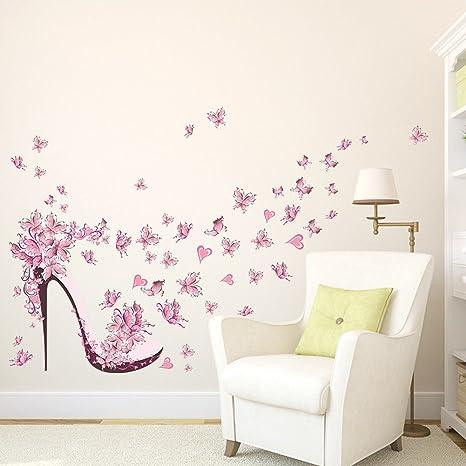 00bdc25478676a Wallpark Beau Rose Papillon Fleur À Haut Talon Chaussure Amovible Stickers Muraux  Autocollants, Salon Chambre