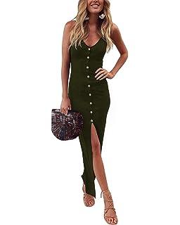6d4adaed1e34 AUTCY Button Down Split Adjustable Spaghetti Strap V Neck Slim Dress for  Women