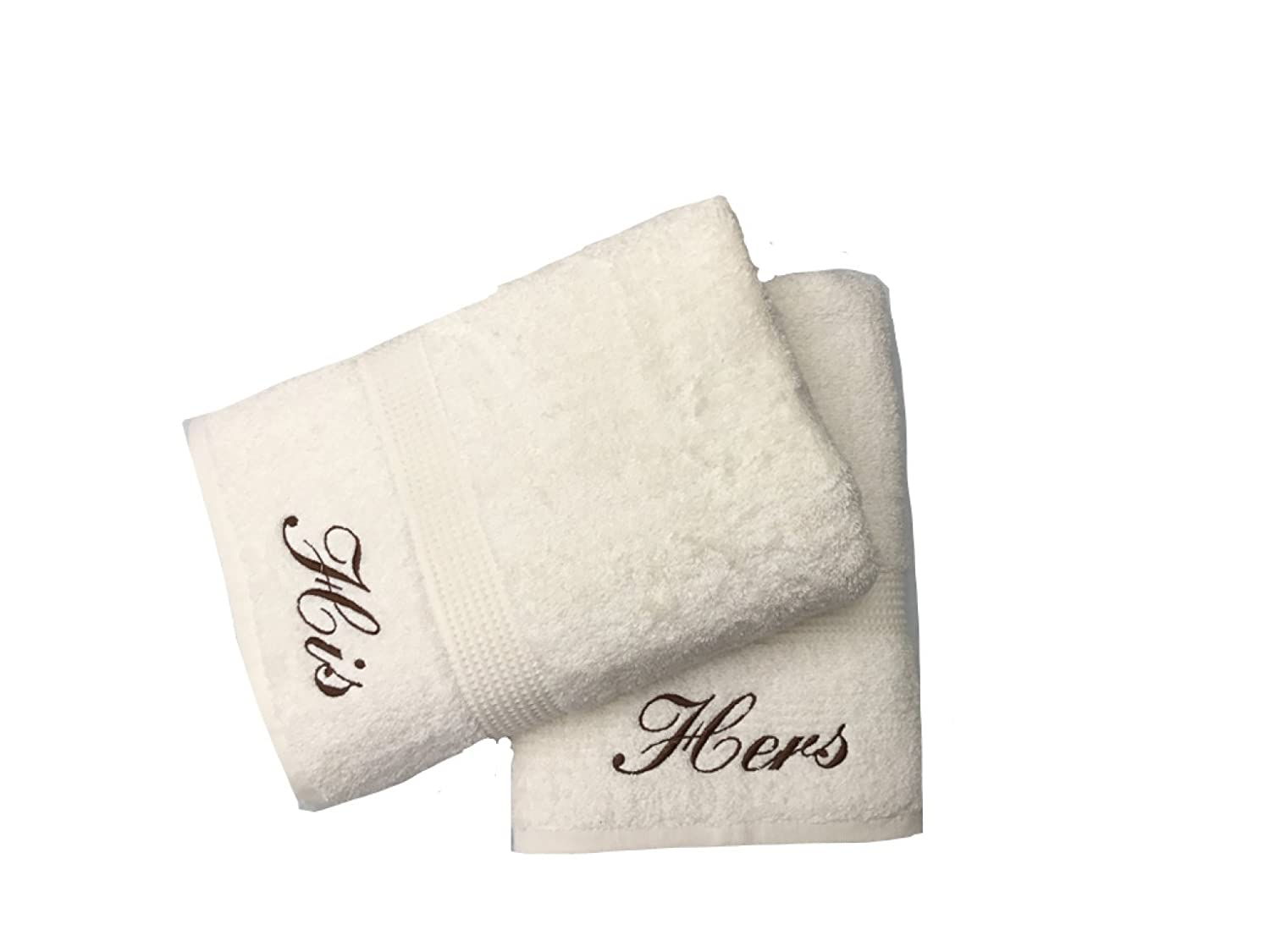 Embroidered His & Hers Cream Hand Towels Pair Niche Embroidery