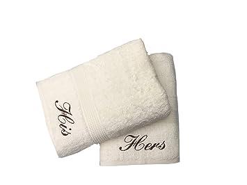 Bordado His & Hers crema toallas de mano de par