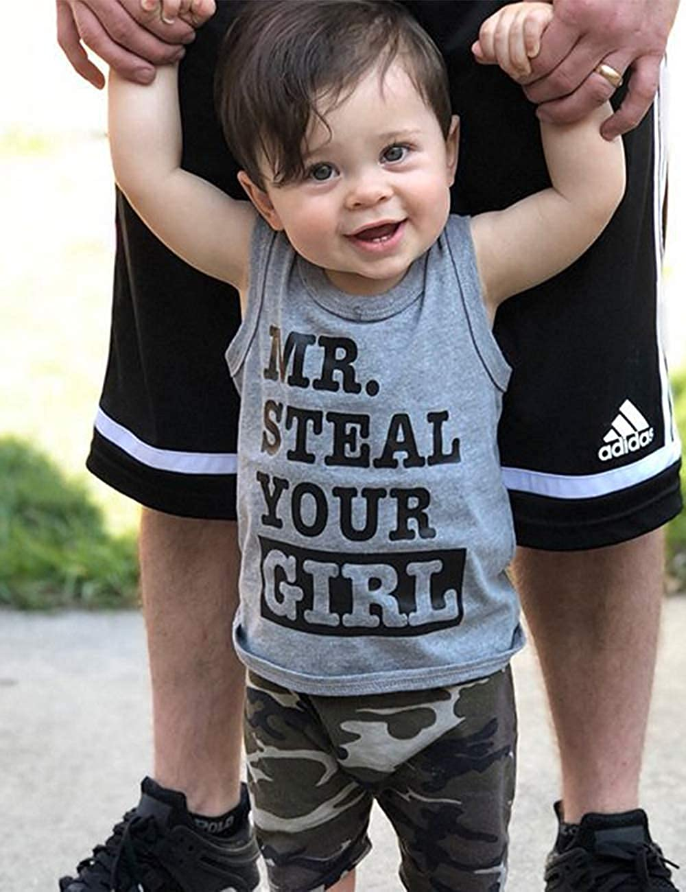 Toddler Baby Infant Boy Clothes Mr Steal Your Girl Vest and Camouflage Shorts Summer Outfit Set