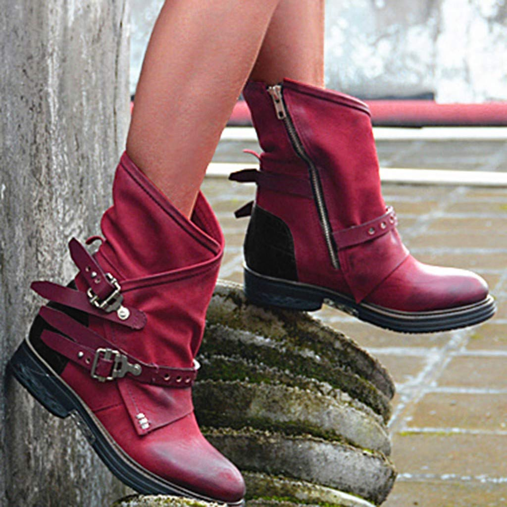 Dainzuy Women Ankle Boots Low Heel Mid Calf Retro Buckle Straps Slouchy Bootie Mid Calf Riding Winter Snow Boots