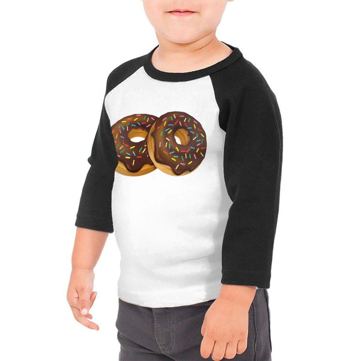 Delicious Donuts Chocolate Toping Unisex Toddler Baseball Jersey Contrast 3//4 Sleeves Tee