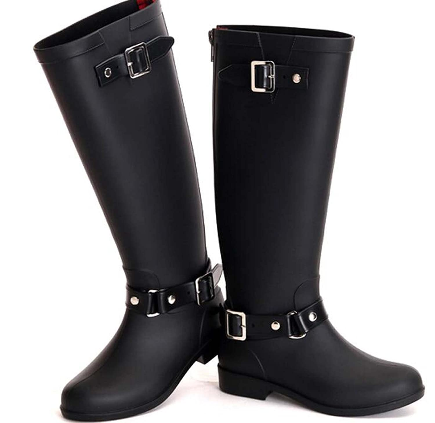 2015 New Fashion Punk Solid Buckle PVC Waterproof Women Rain Boots