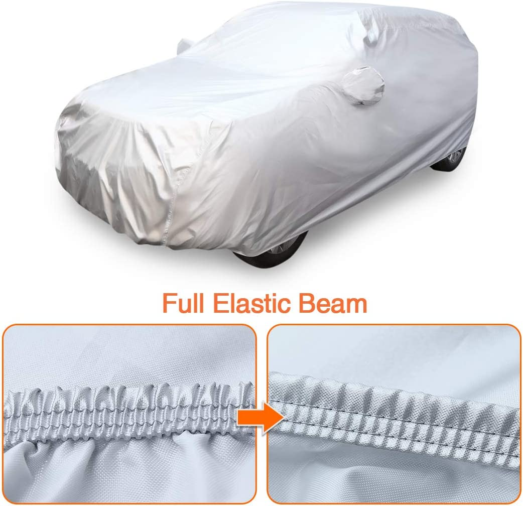uxcell YL Silver Tone 210D Car Cover Outdoor Weather Waterproof Scratch Rain Snow Heat Resistant W Mirror Pocket 480 x 185 x 170cm