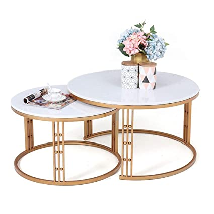 Marble Coffee Table Set Wrought Iron Frame Stable Structure