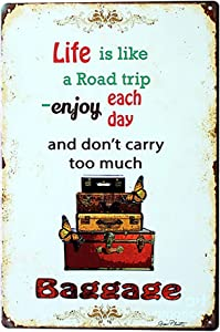 Ryantey Metal Tin Sign Retro Vintage Life is Like A Road Trip Aluminum Sign for Home and Bar Wall Decor 8x12 Inch
