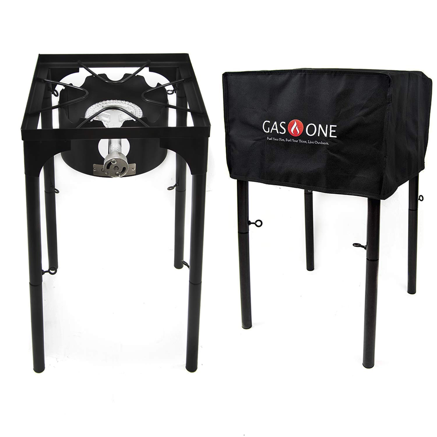 GasOne B-3000H-1+50480 Propane Burner with Cover 100,000-BTU High Pressure Stove, Black by GasOne