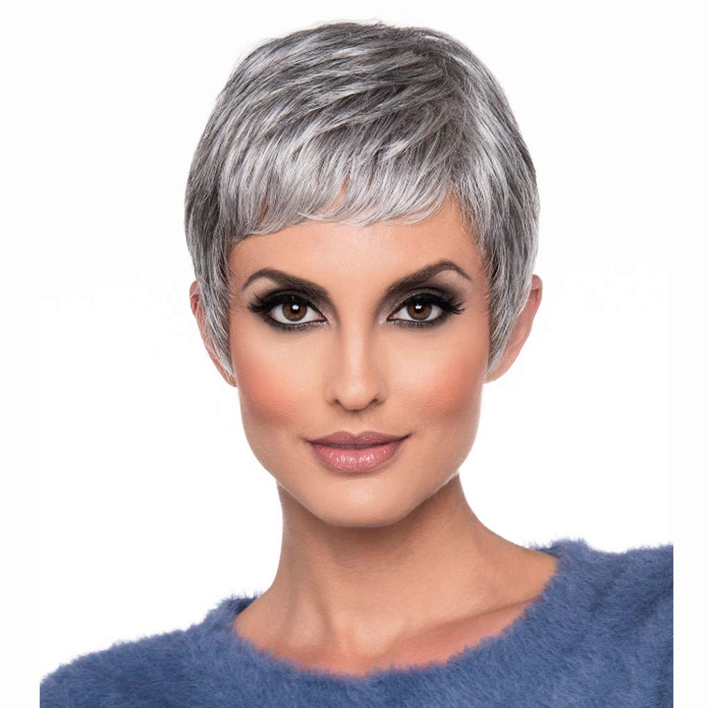 100% Unprocessed Real human Hair,Short Curly Wigs Grayish White Real Human Hair Sexy Women Wigs Synthetic Colorful Cosplay Daily Party Wig (8inch, Grayish white)