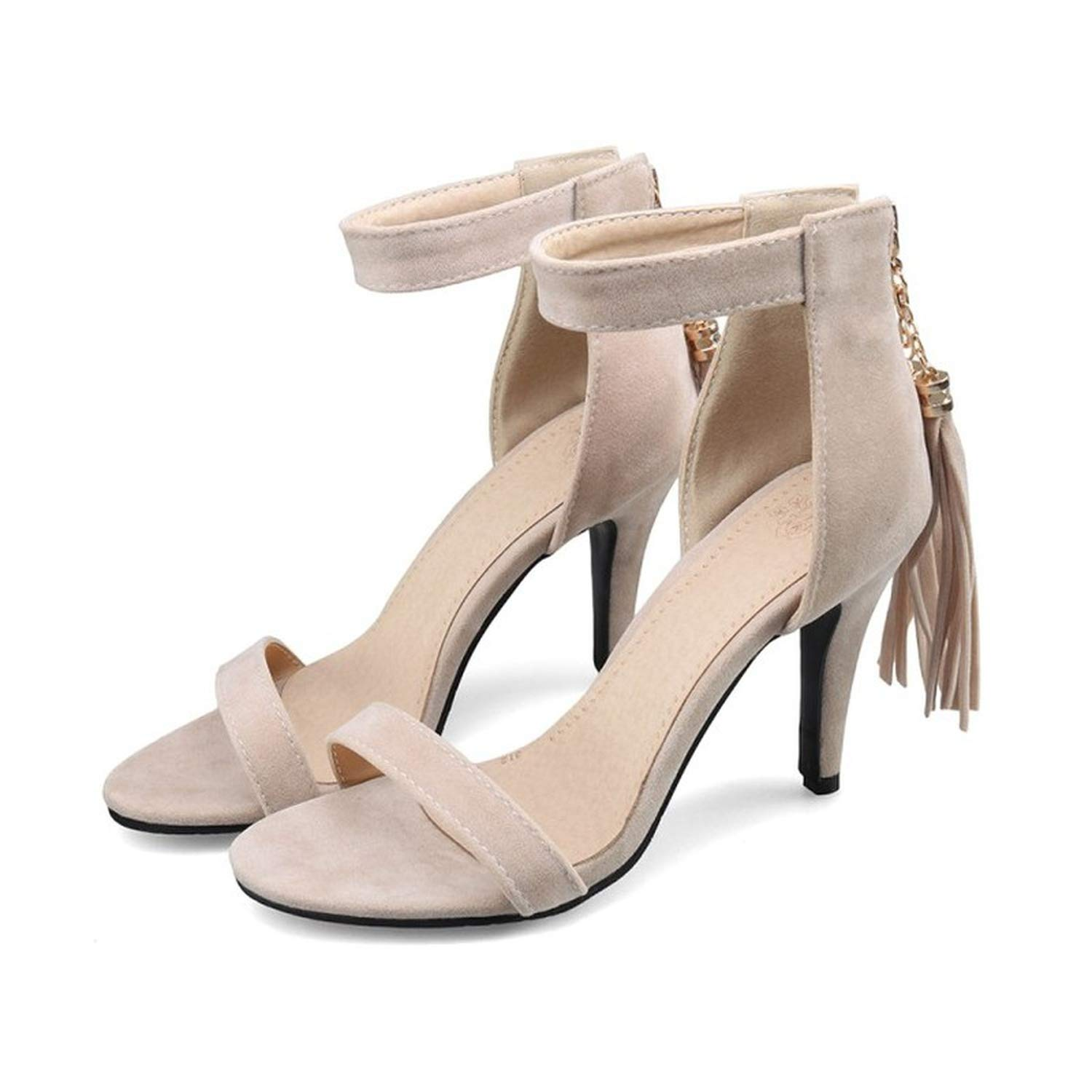 Spring and Style Fine Heel Sandals Womens Black High Heels Suede Fish Mouth Open Toe Womens Shoes Plus Size 33-43,3,9