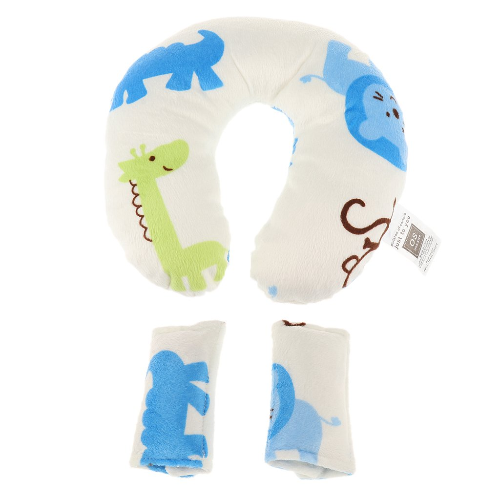 Baby U-Shape Car Seat Stroller Travel Neck Head Rest Pillow Hippo Pattern