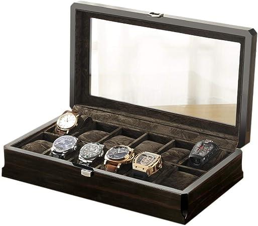Cajas para relojes Reloj De La Joyería Caja De Almacenamiento Caja De Reloj De Cristal De Madera Caja De Joyas Caja De Presentación Reloj De La Exhibición Organizador De Madera: Amazon.es: Hogar