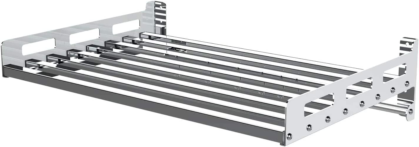 Stainless Steel Wall Shelf Metal Shelving Heavy Duty Commercial or Household Grade Wall Mount Microwave with Fixing Kit Microwave support Oven Wall Mount Bracket Load 120lb/55kg Microwave Oven Shelf