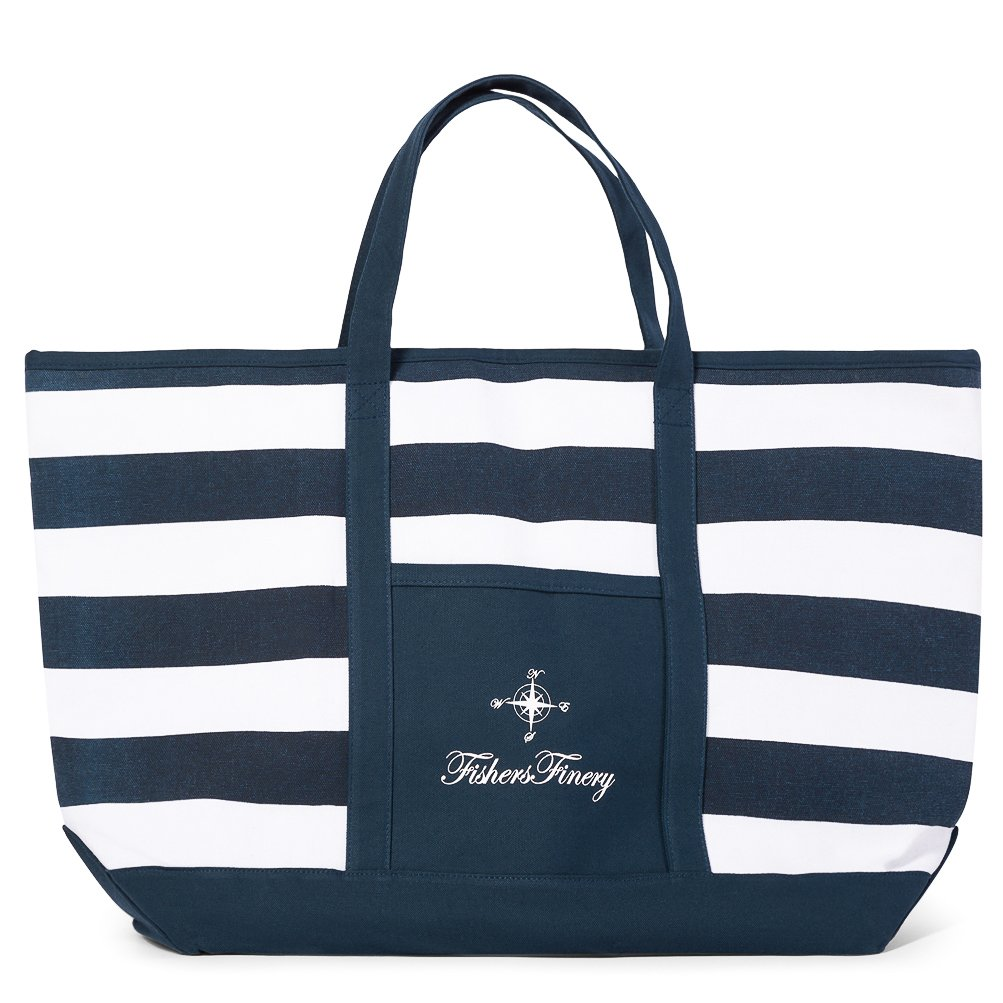 Fishers Finery Canvas Tote with Zipper and Lining with interior Pockets; Multi Sizes and Colors (Navy, S)