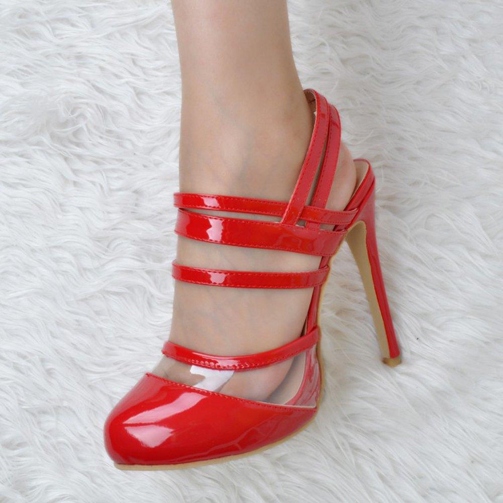 Kolnoo Damen Faschion 11cm Slingback Runde Zeh Slingback 11cm Patent Absatz Sandelholz Schuhe ROTs 0ebabd