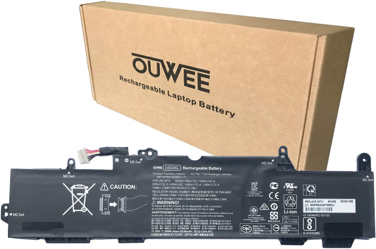 OUWEE SS03XL Laptop Battery Compatible with Hp EliteBook 730 735 740 745 755 830 840 846 G5 745 840 G6 ZBOOK 14U G5 G6 Series HSN-I12C HSN-I13C-4 HSTNN-LB8G 932823-421 933321-855 11.55V 50Wh 4330mAh