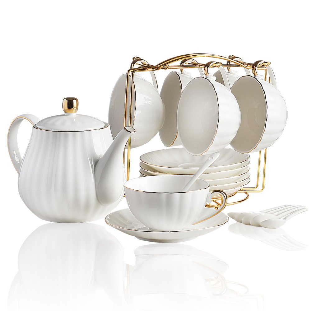Classical Porcelain Tea Sets - 8 OZ Pink Cups& Saucer Service for 6,with Teapot Teaspoons and tea strainer for Tea/Coffee By BANFANG