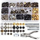 146 Set Snap Fasteners Kit + Leather Rivets, Snap Buttons Press Studs, Double Cap Rivet with Fixing Tools for Leather, Coat, Down Jacket, Jeans Wear (Snap Fasteners + Leather Rivets Kit)