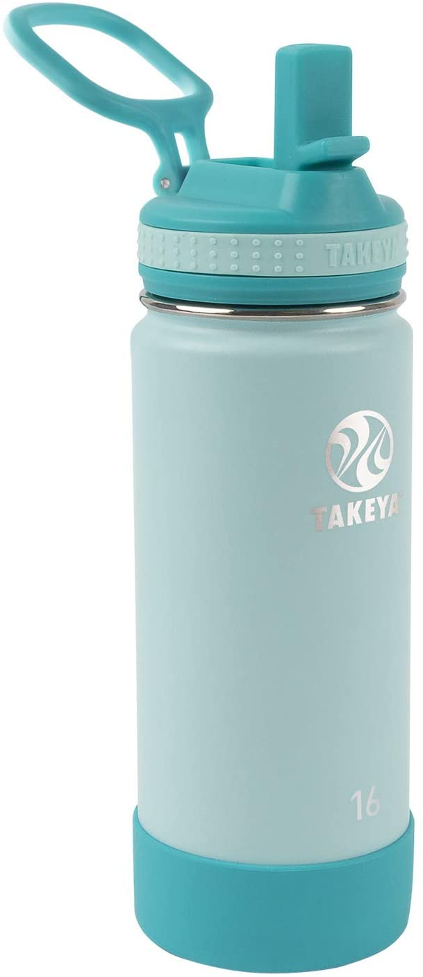 Takeya Kids Insulated Water Bottle w/Straw Lid, 16 Ounces, Surfer/Lagoon