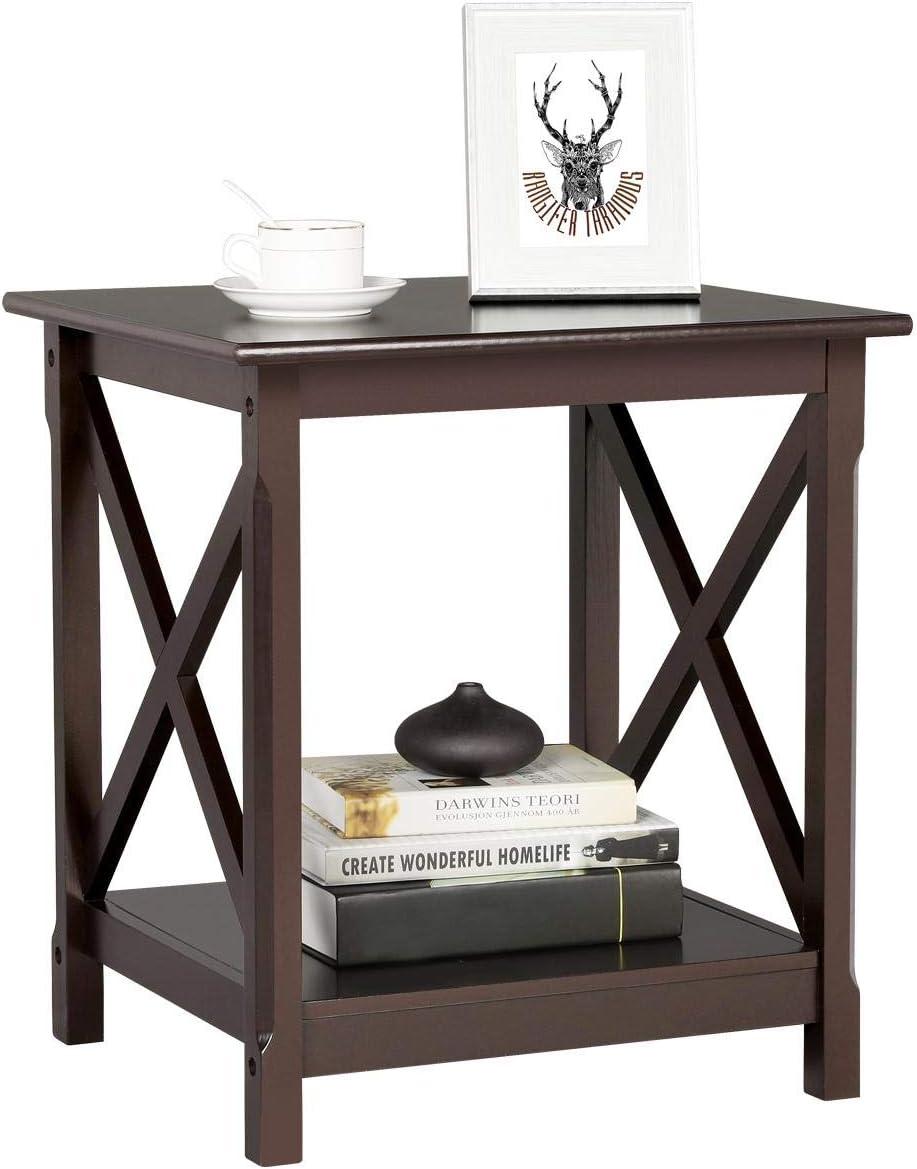 Topeakmart X Design Wood Sofa Side End Table with Storage Shelf for Living Room, Espresso, Rustic