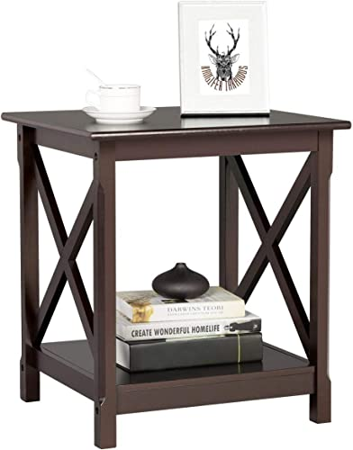 Topeakmart X Design Wood Sofa Side End Table