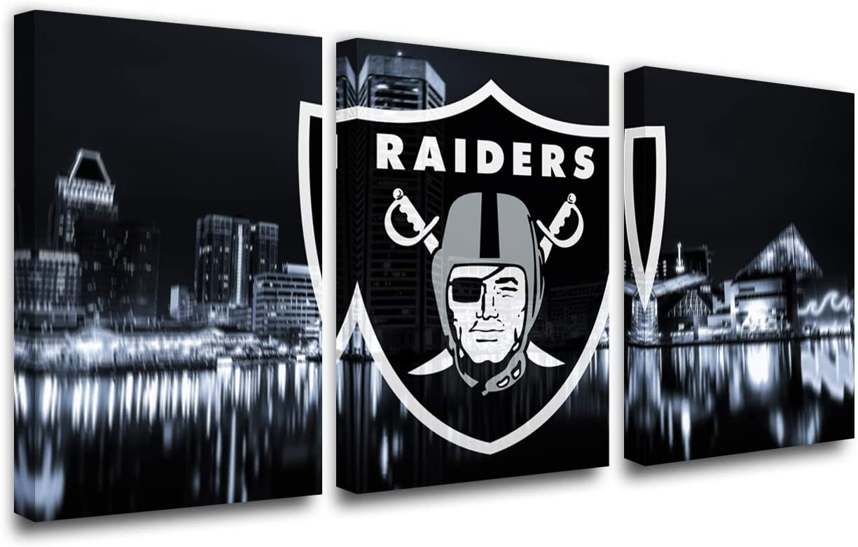 Cityscape Paintings National Football League Pictures Las Vegas Raiders Wall Art Prints on Canvas House Decor Giclee Red Artwork for Bedroom Gallery-Wrapped Framed Ready to Hang Gift(42''W x 20''H)