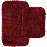 Red Bathroom Mat Set Garland Rug 2-Piece Jazz Shaggy Washable Nylon Bathroom Rug Set, Chili Pepper Red