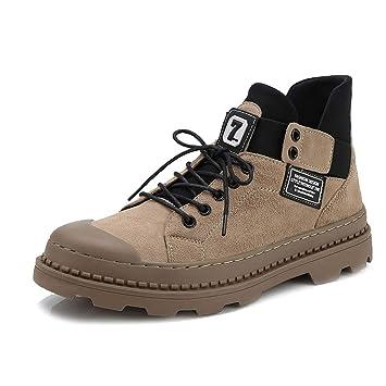 Zapatos De Hombre Botas Martin De Cuero De Gran TamañO Zapatos De Moda Casual Botas De Plataforma Botas De Montar Al Aire Libre Botines: Amazon.es: ...