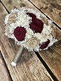 Burgundy & Natural Bridal Bouquet(choose size) Pictured is a 23 Flower Bridal : Burlap Bridal Bouquet, Burlap Bouquets, Burlap Wedding Bouquets, Burgundy Bouquets, Rustic Bouquets