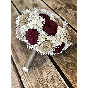 Burgundy & Natural Bridal Bouquet(choose size) Pictured is a 23 Flower Bridal : Burlap Bridal Bouquet, Burlap Bouquets, Burlap Wedding Bouquets, Burgundy Bouquets, Rustic Bouquets 56