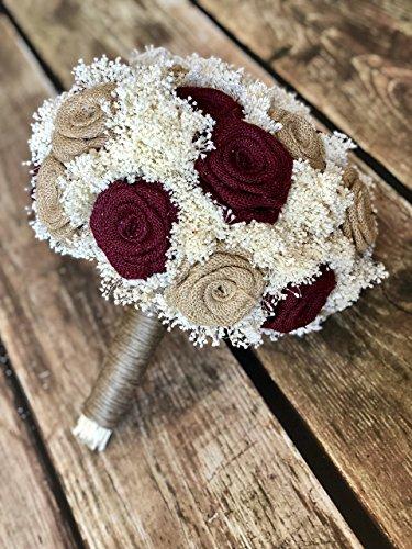 (Burgundy & Natural Bridal Bouquet(choose size) Pictured is a 23 Flower Bridal : Burlap Bridal Bouquet, Burlap Bouquets, Burlap Wedding Bouquets, Burgundy Bouquets, Rustic Bouquets)