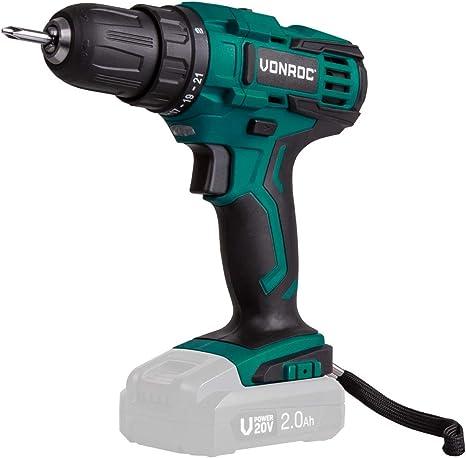 1,3 Joule VONROC Akku-Bohrhammer SDS-plus VPower 20 V 2,0 Ah Akku und Ladeger/ät Inkl Inkl Zubeh/ör und Werkzeugtasche