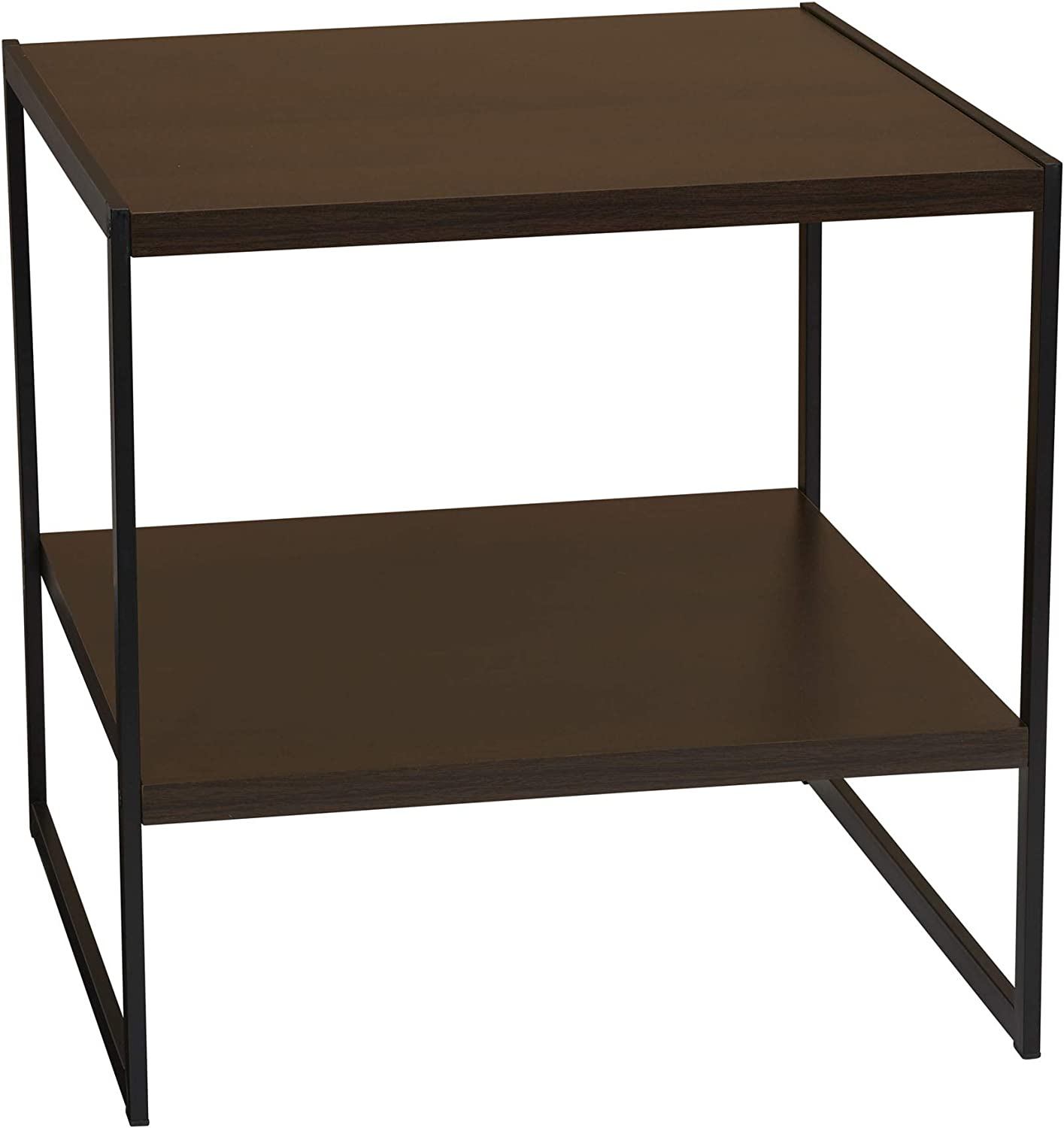 "Household Essentials Square Wooden Side End Table with Storage Shelf W H x 19.7"" D 