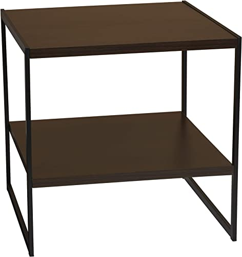 Household Essentials Square Wooden Side End Table with Storage Shelf W H x 19.7 D Walnut, Brown