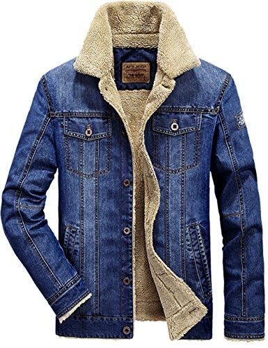 S&S Men's Winter Classic Blue Sheep Fur Lining Button Denim Jackets Coat