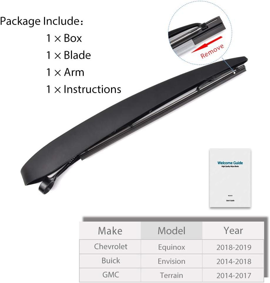 GMC Terrain 2014-2017 OTUAYAUTO 22759638 Rear Windshield Wiper Arm Blade Set For Chevrolet Equinox 2018-2019 Buick Envision 2014-2018