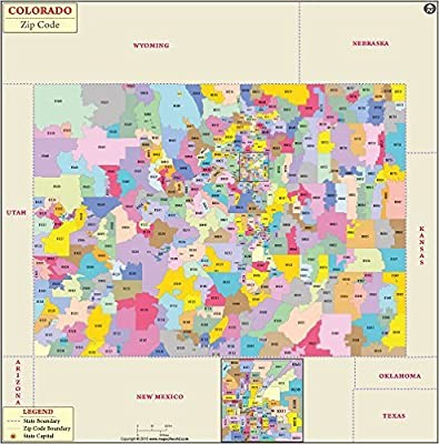 Amazon.: Colorado Zip Code Map (36