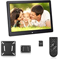 Andoer 17 Inch LED Digital Photo Frame 1920*1080 High Resolution Digital Photo Album 1080P Advertising Machine Scroll Subtitle with Wall Hanging + 8GB Memory Card