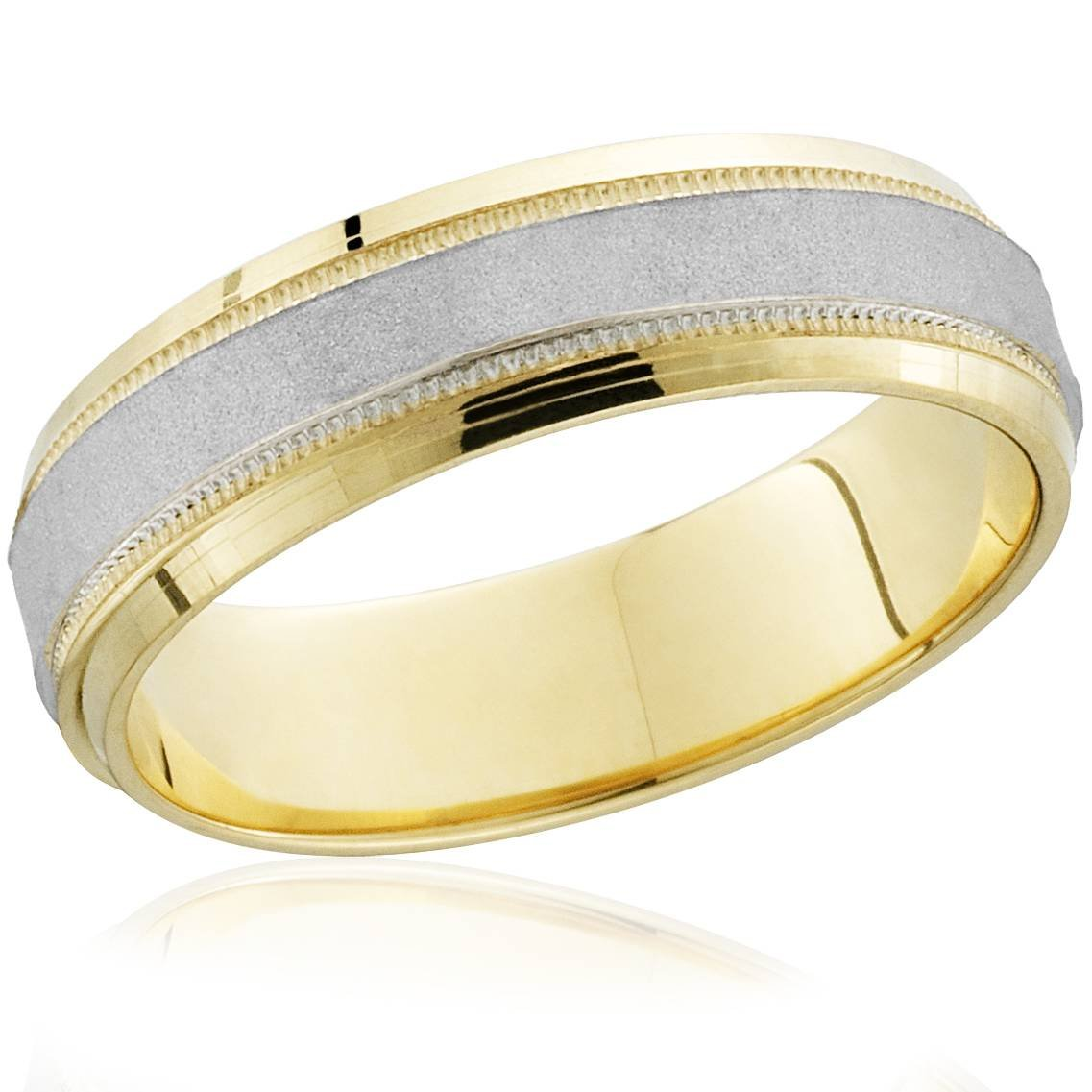 18k Gold & Platinum Brushed Two Tone Wedding Band Ring - Size 9.5 by P3 POMPEII3