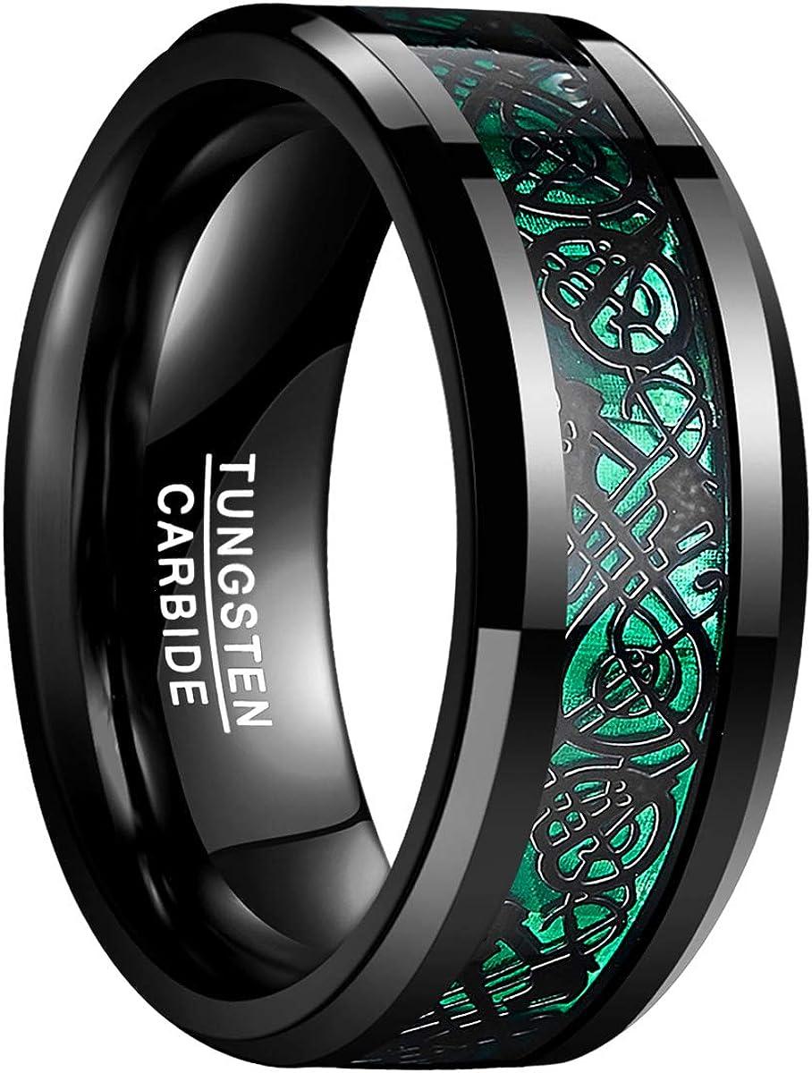 Fian/çailles Bague Unisexe Couples Noir Mariage Natur Fashion Cadeau Taille 52 /à 72 Rouge//Vert//Or Rose Dragons Celtique 8mm de Large en Tungst/ène pour Mode